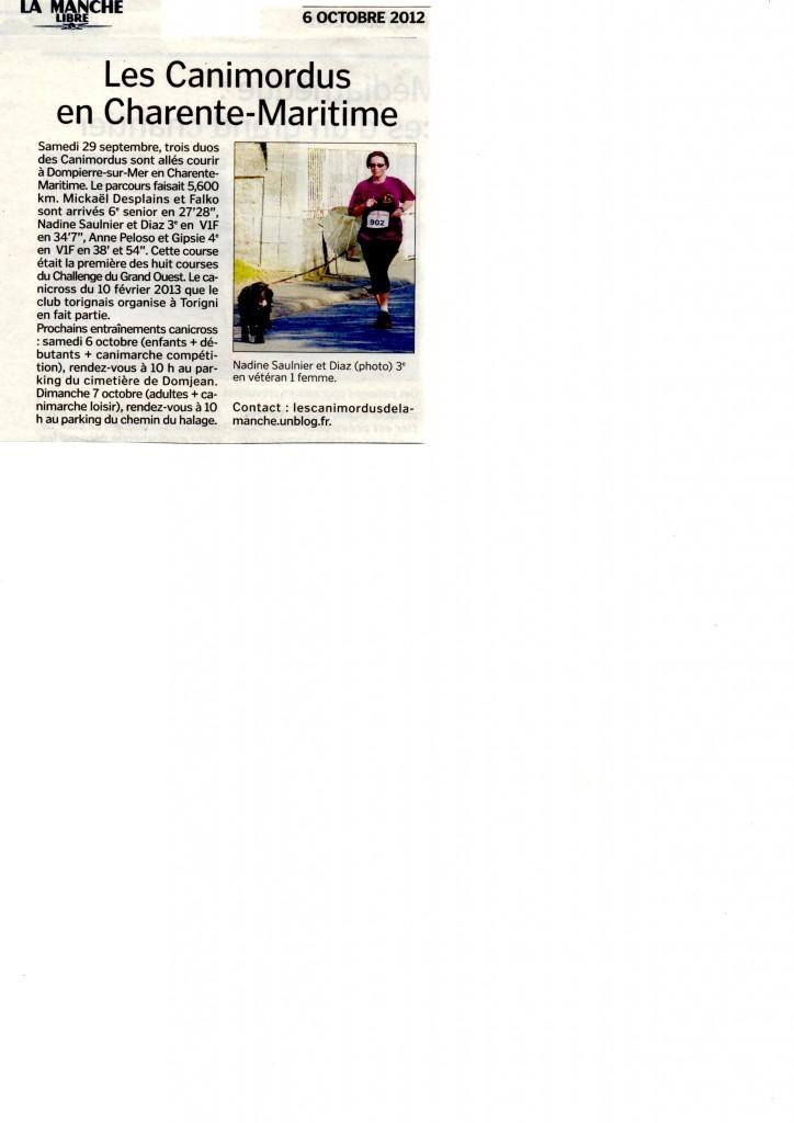 Article de la Manche Libre du 6 octobre -Dompierre sur Mer dans Presse Article-ML-6-oct-12-724x1024